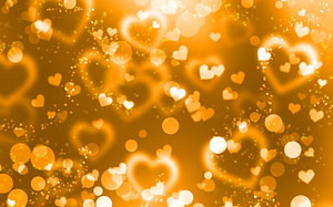 Love hearts gold - out of focus